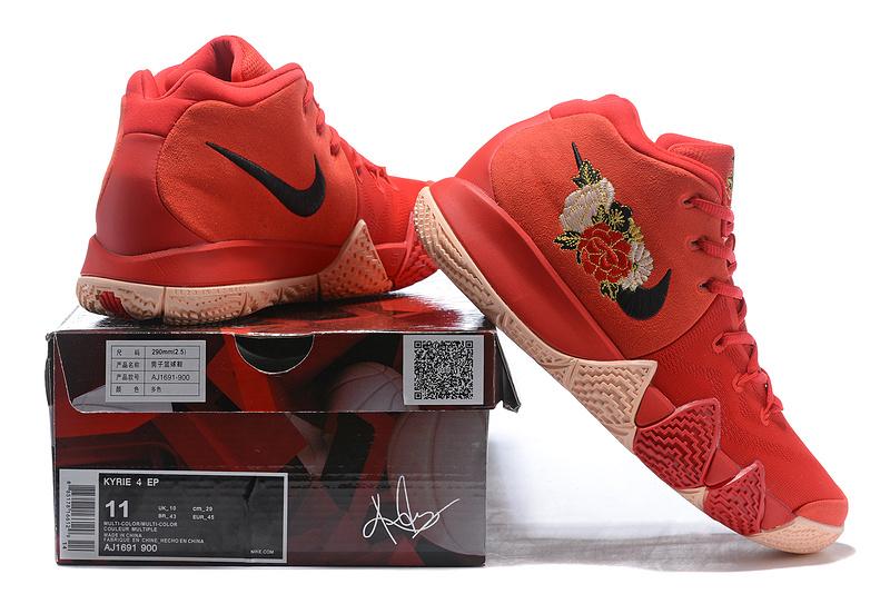 big sale 25b6c bd83c Nike Kyrie 4 October Red Flower Men's Basketball Shoes NIKE-ST001583