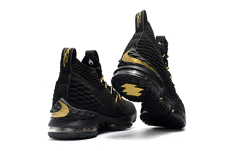 low priced 9fbb5 276da Nike LeBron 15 Black Gold Men's Basketball Shoes NIKE-ST001753