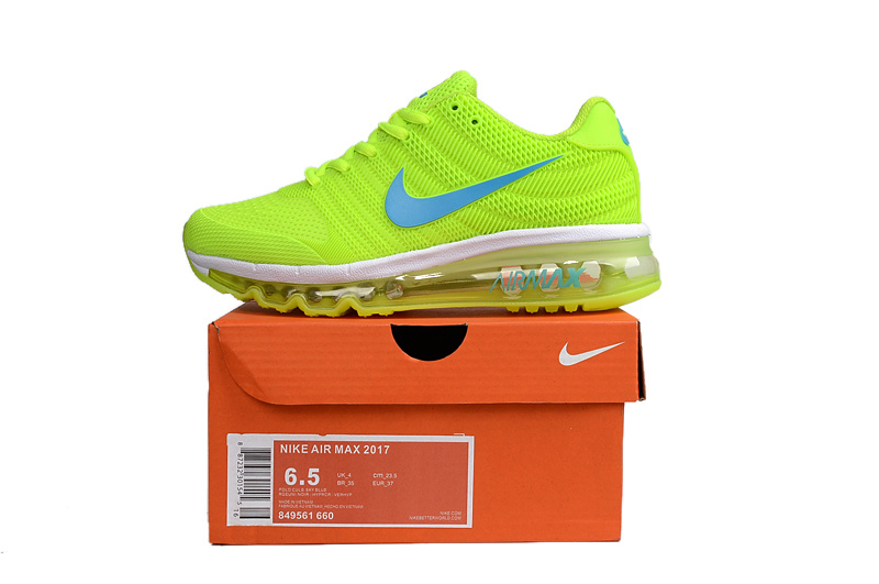 sports shoes 8a9b3 04e33 Nike Air Max 2017 KPU Volt Yellow White Light Blue Women's Running Shoes  849561-600