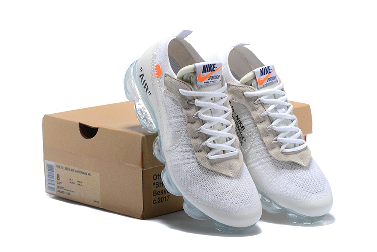 buy online 2f7b7 3e411 OFF-WHITE x Nike Air VaporMax Flyknit White Orange Black AA3831 100 Women's  Men's Running Shoes AA3831-100
