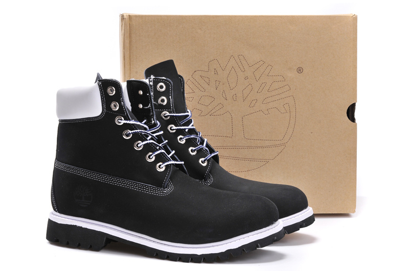 96e27377b557 Timberland 6 Inch Classic Black White Nubuck Leather Women s Men s  Waterproof Boots