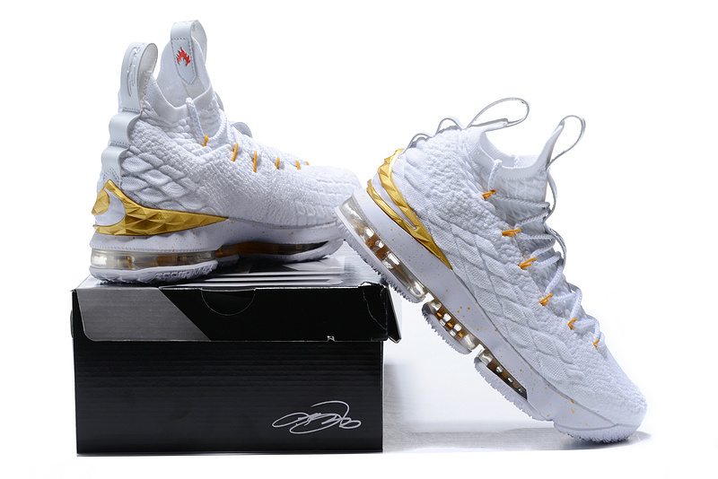quality design b8960 df5c4 Nike LeBron XV 15 EP White Metallic Gold Men's Basketball Shoes  NIKE-ST001773
