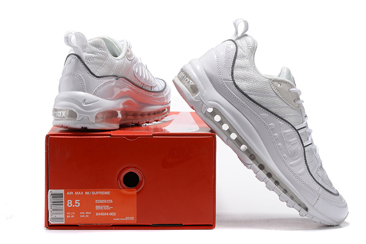big sale bbc34 ee51e Nikelab Supreme x Air Max 98 Triple White Grey Limited Edition Men's  Running Shoes 844694-002