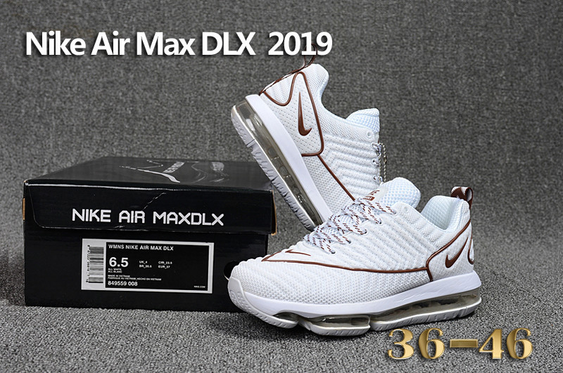 best service 20062 9fb8d Nike Air Max DLX 2019 White Brown Men's Running Shoes 849559--008