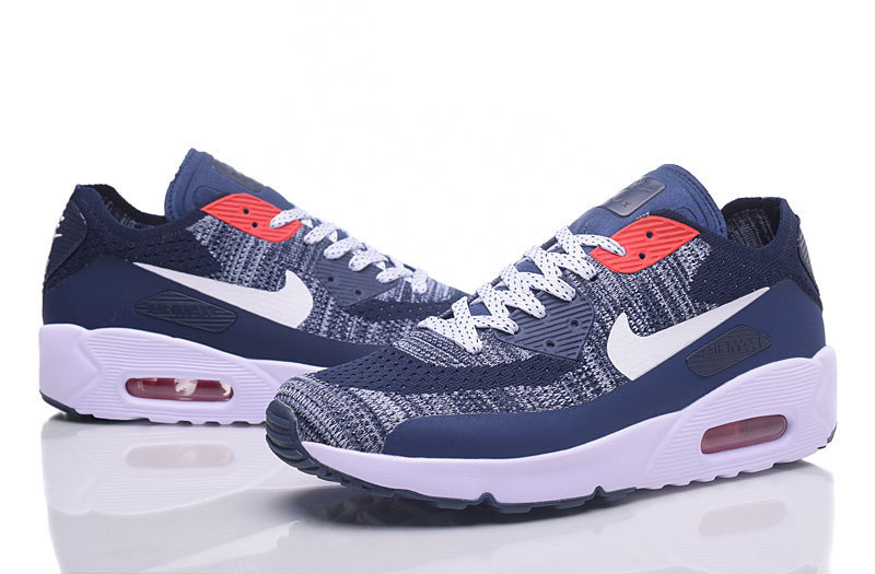 online store f081a 8b885 Nike Air Max 90 Flyknit Grey Deeo Blue White Red Men's Running Shoes  Sneakers NIKE-ST000227