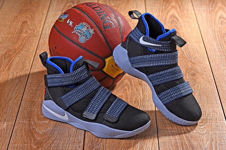 new products ace9f c86e4 Nike LeBron Soldier 11 XI Black White Deep Royal Blue Glacier Grey Men's  Basketball Shoes 897645-005