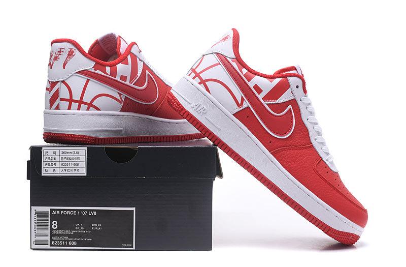 f604fc2023d Nike Air Force 1 07 LV8 University Red White University Red Men s ...