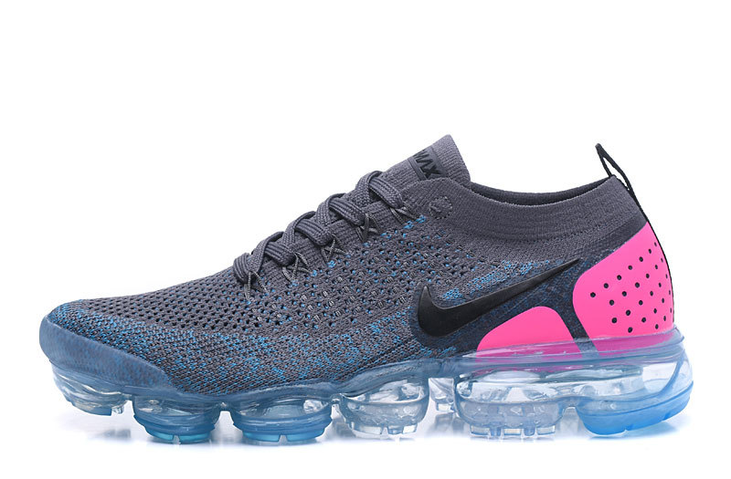 various colors a2621 4a3eb Nike Air VaporMax Flyknit 2. 0 W Gunsmoke Blue Orbit Pink Blast Black  Women's Running Shoes 942843-004