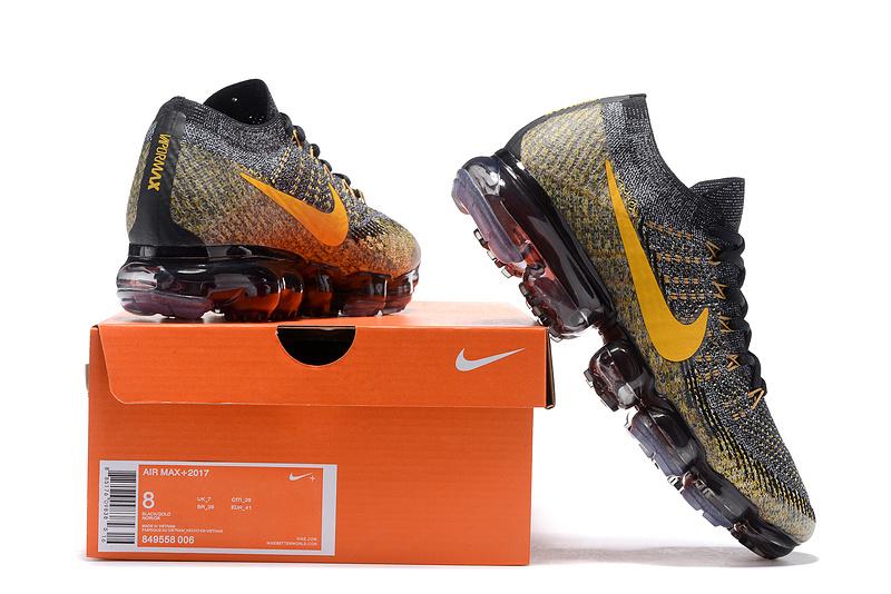 new styles fd2b2 9fa8e Nike Air VaporMax Flyknit 2018 Black Gold Men's Running Shoes 849558-006