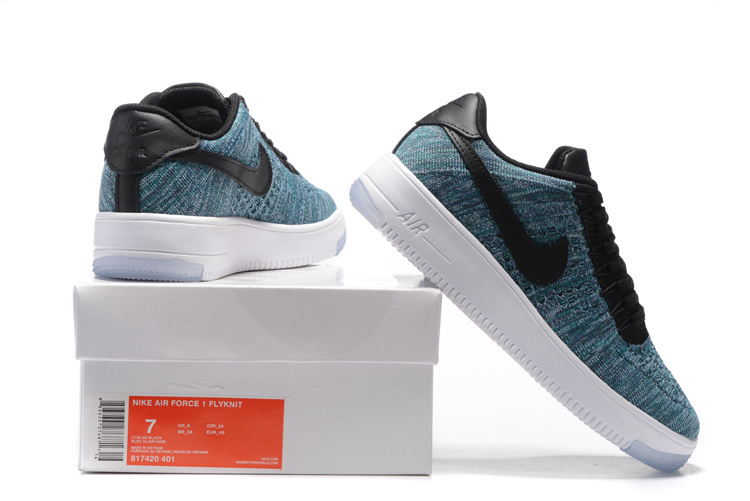 the best attitude ea246 fd645 Nike Air Force 1 Ultra Flyknit Low Blue Black White Men's Casual Shoes  Sneakers 817420-401