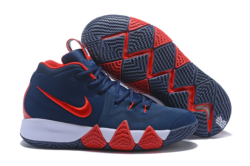 best deals on bf975 b2f64 Nike Kyrie 4 Navy Blue Red White Men's Basketball Shoes NIKE-ST001572