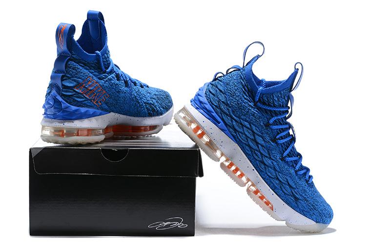 a8c602749bd Nike LeBron 15 EP HWC Hardwood Classics Photo Blue Total Orange Men s  Basketball Shoes