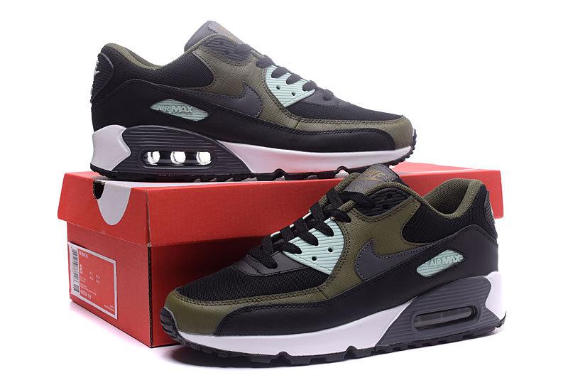 low priced 800b5 b46f7 Nike Air Max 90 Essential Black Army Green Men s Women s Running ...