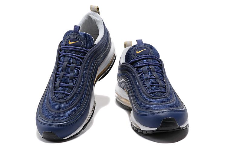 46fc2a763a Nike Air Max 97 Midnight Navy Metallic Gold Men's Running Shoes ...