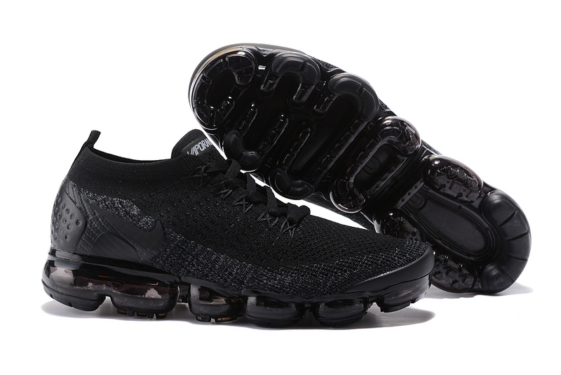 311b0801aaca Nike Air VaporMax Flyknit 2 TPU Triple Black Women s Men s Running ...