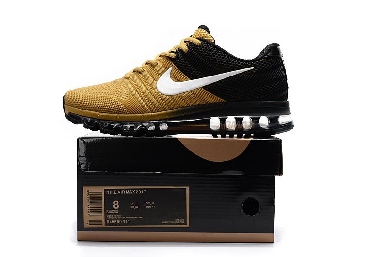 95d1b25dbf Nike Air Max 2017 Kpu Gold Black White Men's Running Shoes 849560 ...