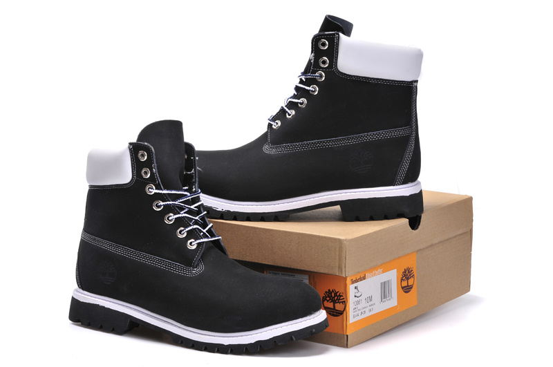 e9260153fe6 Timberland 6 Inch Classic Black White Nubuck Leather Women's Men's  Waterproof Boots