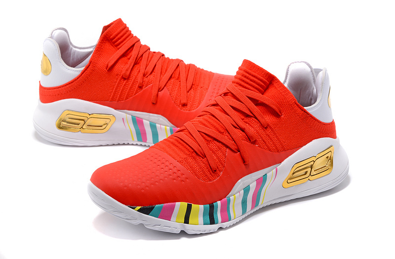 online store ee453 1dd4a Under Armour Curry 4 Low University Red Gold Multi-Color Men s Basketball  Shoes