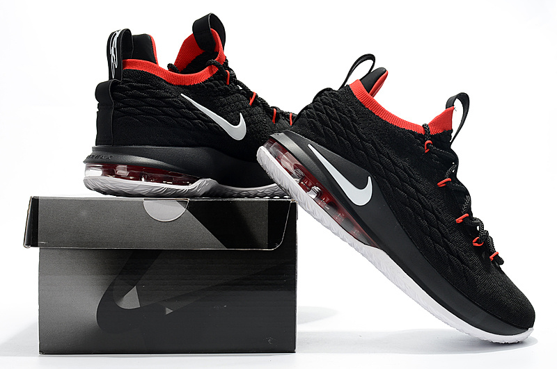 online retailer 5fd9b 56f4b Nike LeBron 15 Low Black White Red Men's Basketball Shoes NIKE-ST001869