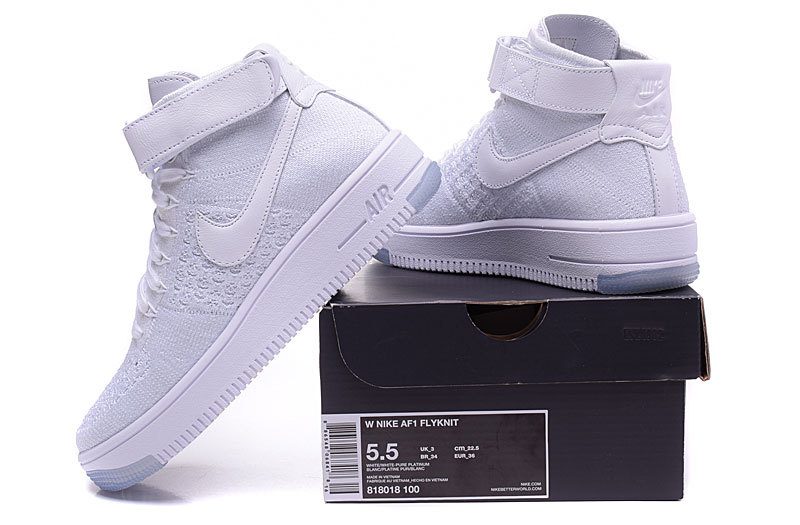 Nike Air Force 1 Ultra Flyknit Mid White Pure Platinum Women's Men's Casual Shoes Sneakers 818018 100