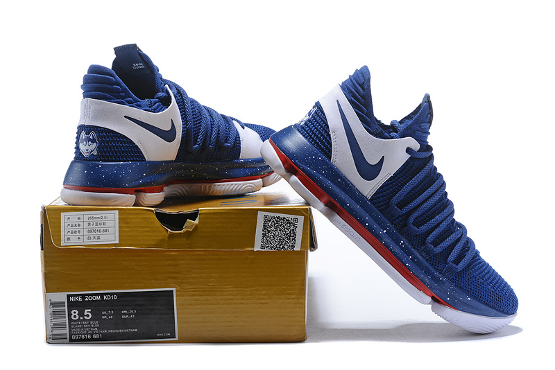 7a0c0e1eb948 Nike Zoom KD 10 LMTD EP Navy Blue White Red Men s Basketball Shoes ...