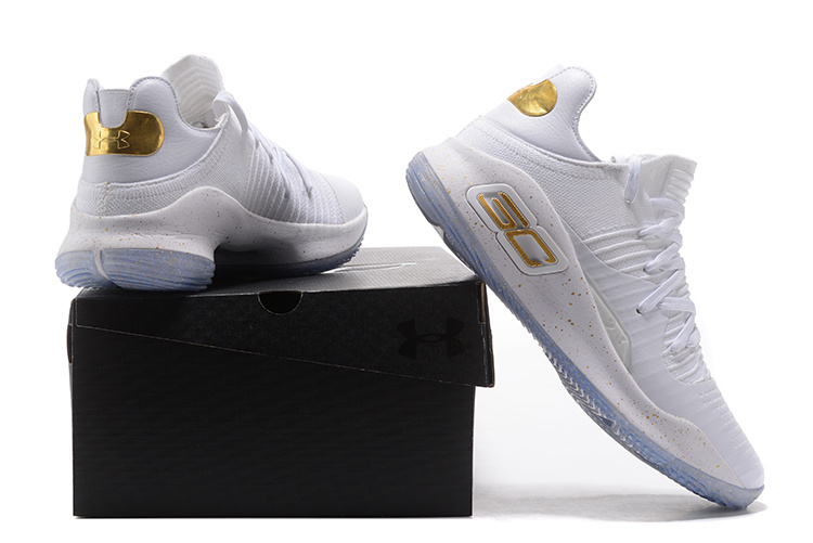 264e0e66db93 Under Armour Curry 4 Low White Gold 2017 NBA Finals Men s Basketball ...