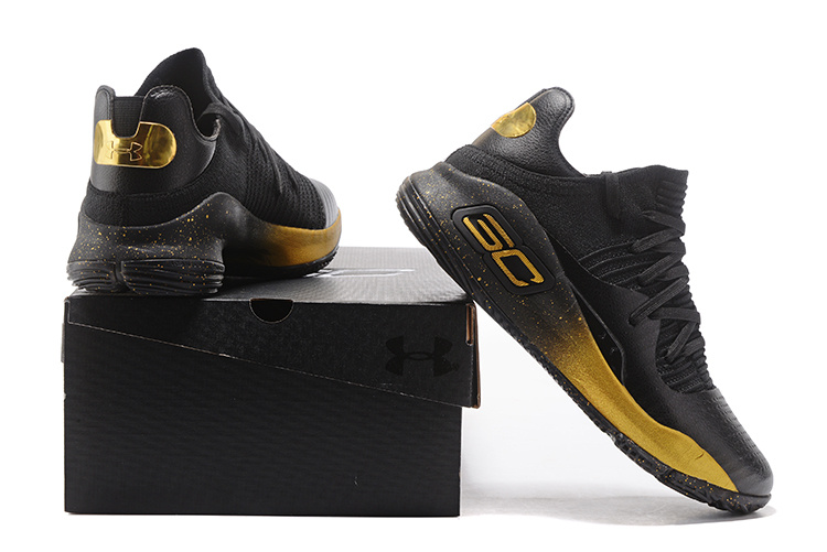 00ffbe85b29e Under Armour Curry 4 Low Black Gold 2017 NBA Finals Men s Basketball ...