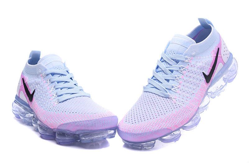 ce95cb59b0d5 Nike Air VaporMax Flyknit 2 White Hydrogen Blue Pink Women s Running Shoes