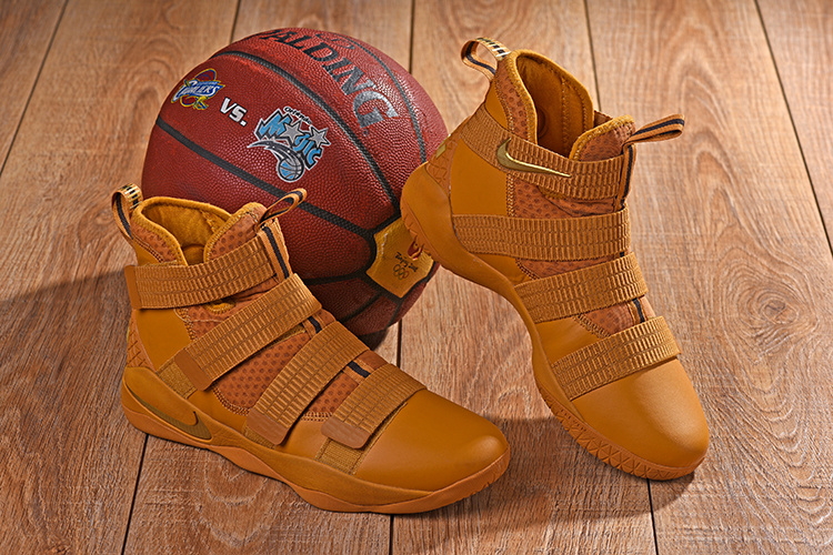 3ba8509553744 Nike LeBron Soldier 11 Wheat Gold Metallic Gold Men s Basketball ...