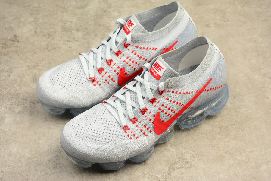 69af46dcec93f Nike Air VaporMax Flyknit Pure Platinum University Red Men s Running Shoes