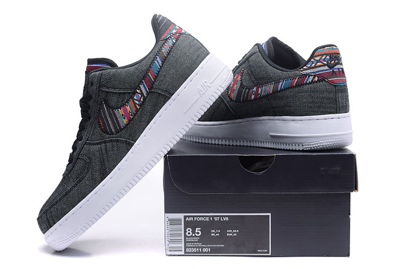 8f4f1b13709 Nike Air Force 1 07 LV8 Afro Punk Black White Men s Running Shoes ...