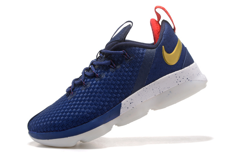 bac3d9c24fb8 Nike LeBron James 14 Low Navy Blue Gold White Men s Basketball Shoes ...