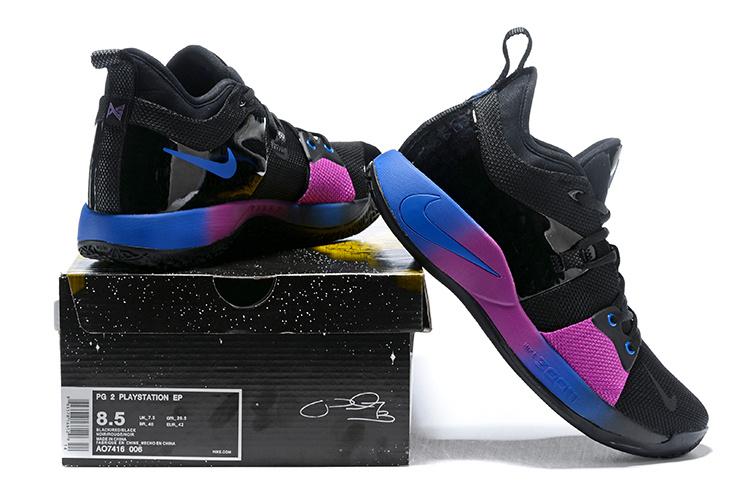 best website a7488 e915d Nike PG 2 Paul George Black Purple Blue Men's Basketball Shoes NIKE-ST001414