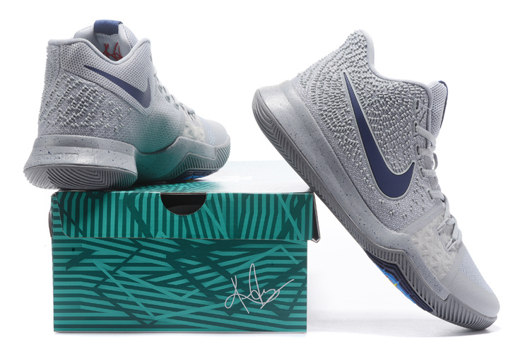 competitive price 30d5b de31f Nike Kyrie 3 Cool Grey Pure Polarized Blue Midnight Navy Men's Basketball  Shoes 852395-001
