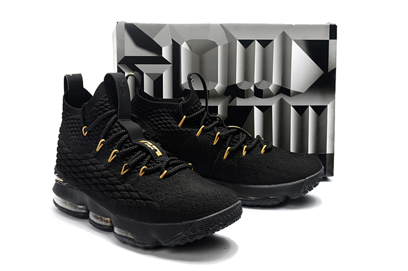 low priced 4442d a2a8d Nike LeBron 15 Black Gold Men's Basketball Shoes NIKE-ST001753