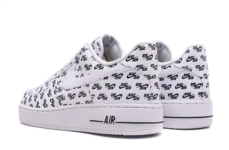4a062804b378 Nike Air Force 1 Low 07 QS All Over Logo White Black Men s Women s Running  Shoes