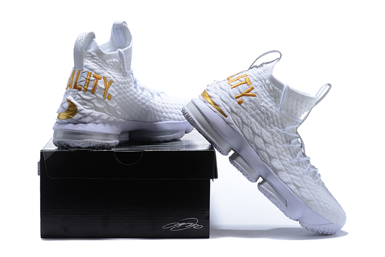 online store 9ac4d 8139d Nike LeBron XV 15 EP White Gold Equality Men's Basketball Shoes  NIKE-ST001790