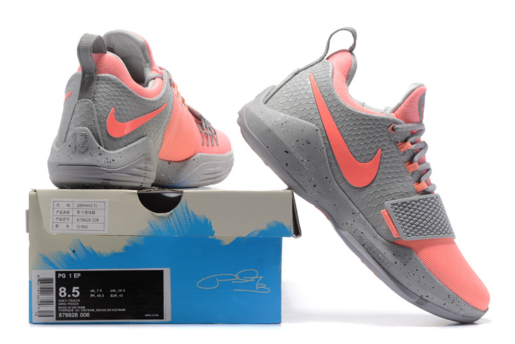 pretty nice 57d75 a8fd7 Nike Air PG1 Paul George Cool Grey Pink Men's Basketball Shoes 878628-006