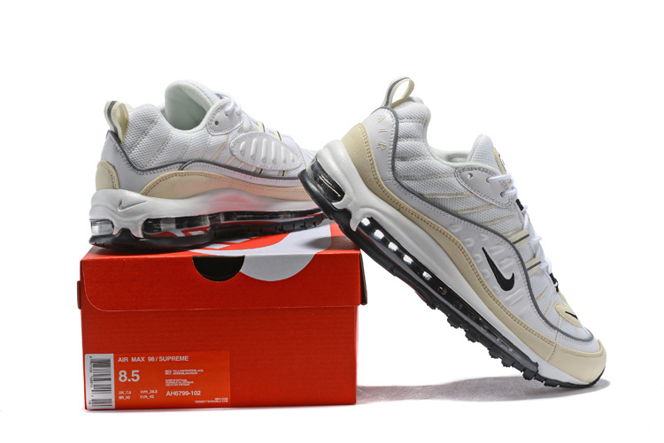 super popular a7041 89575 Nike Air Max 98 Fossil White Black Fossil Reflect Silver Men's Running  Shoes AH6799-102