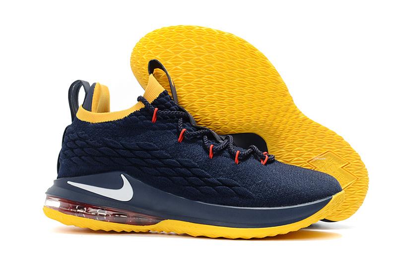 6b477bd4002f7 Nike LeBron 15 Low Navy Blue Yellow Men s Basketball Shoes NIKE ...
