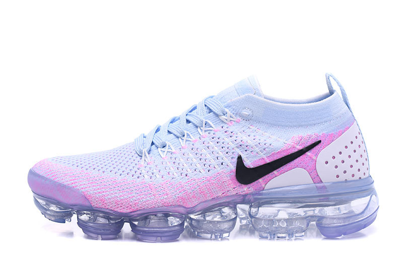 4439cb256b1ae Nike Air VaporMax Flyknit 2 White Hydrogen Blue Pink Women s Running Shoes