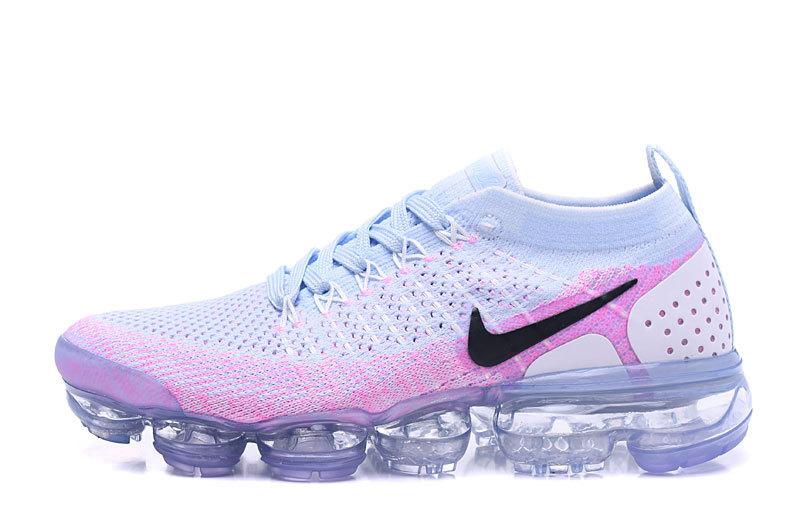 45904c564189 Nike Air VaporMax Flyknit 2 White Hydrogen Blue Pink Women s Running Shoes