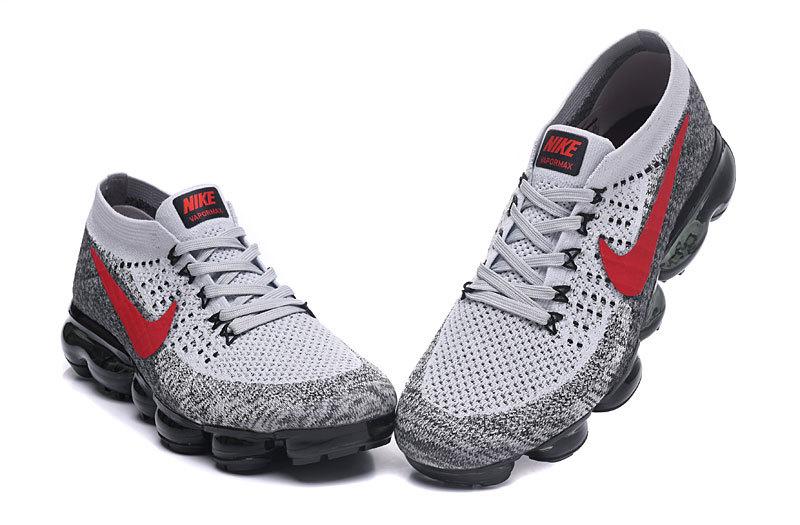 pretty nice c4692 f5ddd Nike Air VaporMax Flyknit Grey Red Black Men's Running Shoes 849558-020