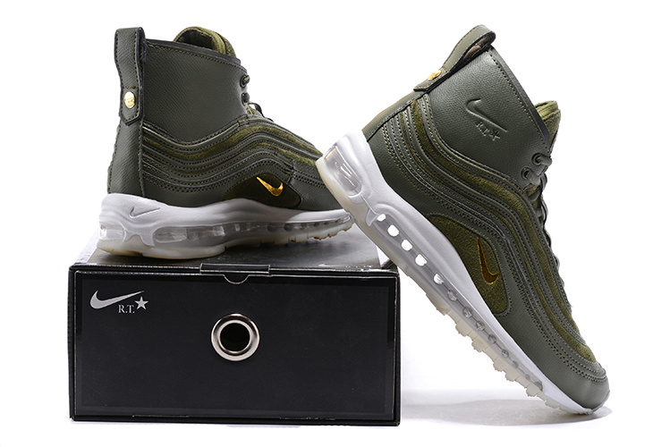 new style 24239 59a10 Nike Air Max 97 Mid R. T. Olive Green White Men's Running Shoes  NIKE-ST000745