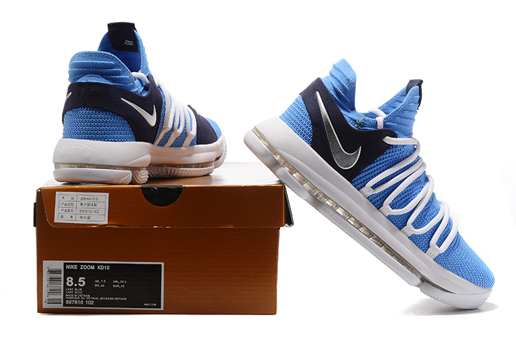 online store 31e91 f7847 Nike Zoom KD 10 EP Blue White Black Men's Basketball Shoes 897816-102