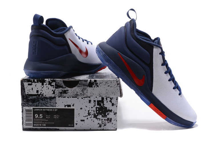 aabcb807867 Nike Lebron Witness II EP 2 Navy Blue White Red Men s Basketball Shoes