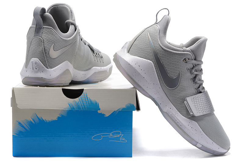 the latest 44228 3141a Paul George Nike PG 1 Grey Silver White Men's Basketball Shoes NIKE-ST000068