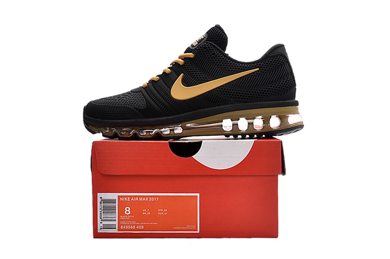check out 1b704 e7b67 Nike Air Max 2017 KPU Black Gold Men's Running Shoes 849560-409