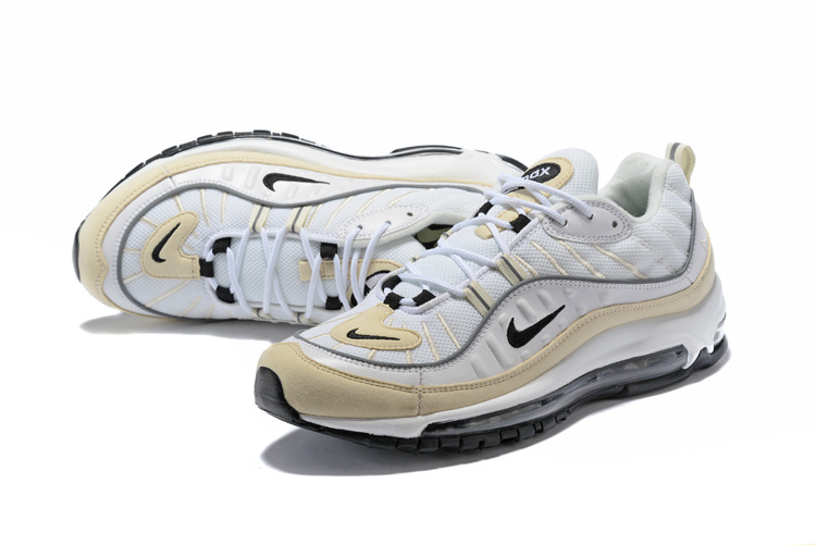 super popular 32f55 45818 Nike Air Max 98 Fossil White Black Fossil Reflect Silver Men's Running  Shoes AH6799-102