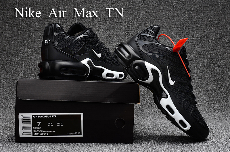 bd653cff2e Nike Air Max Plus TN S Black White KPU 604133 040 Men's Running ...